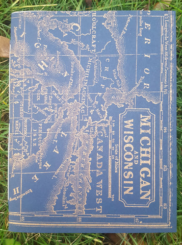 Michigan Blue & Gold Map Letterpress Notebook