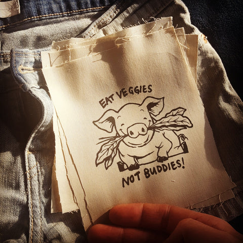 """Eat Veggies Not Buddies!"" patch"