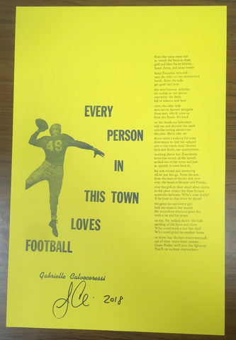 """Every Person in This Town Loves Football"" BY Gabrielle Calvocoressi, Print (Signed Edition, Benefit for the Ruth Ellis Center)"