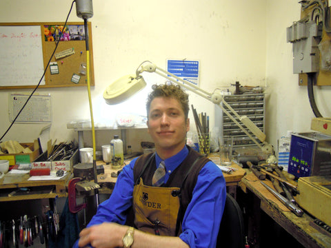 James Rea, Watchmaker & Jeweller, Wearing Apron In His Traditional Vintage British Family Jewellery Workshop