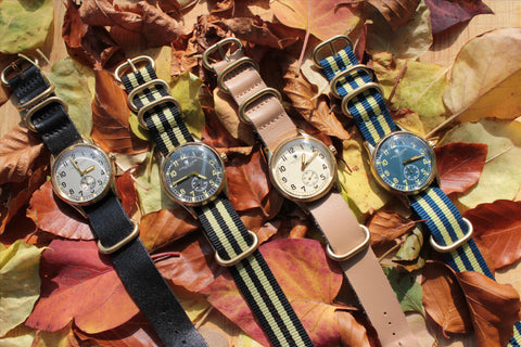 Crowder ATP Watch - 4 Gold Colour Brass Case Vintage Military Style Watches With Leather & Nato Straps