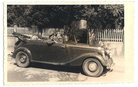 Vintage WW2 Era Photograph Of Two Men Sitting In A Classic Military Car Wearing Army Berets James Rea's Grandfather, Frank Crowder, To The Right