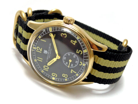 Vintage Watch With Black Dial, Gold Case & Black and Yellow Nylon Nato Strap