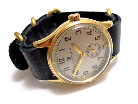 Crowder ATP Vintage Military Watch With Silver Dial, Second Subdial, Gold Case & Black Leather NATO Band With ZULU Buckles