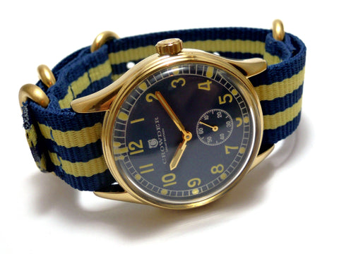Vintage Military Watch With Blue Dial, Gold Case & Blue and Yellow Stripes Nylon Nato Band