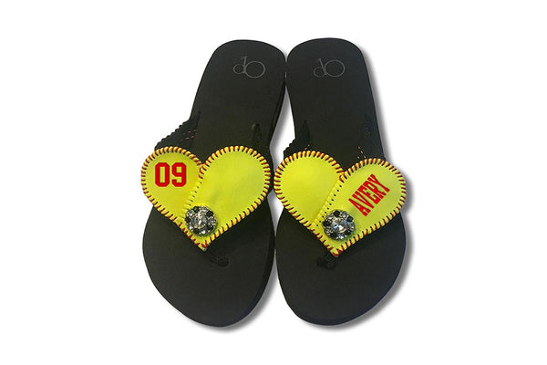 softball heart flip flops