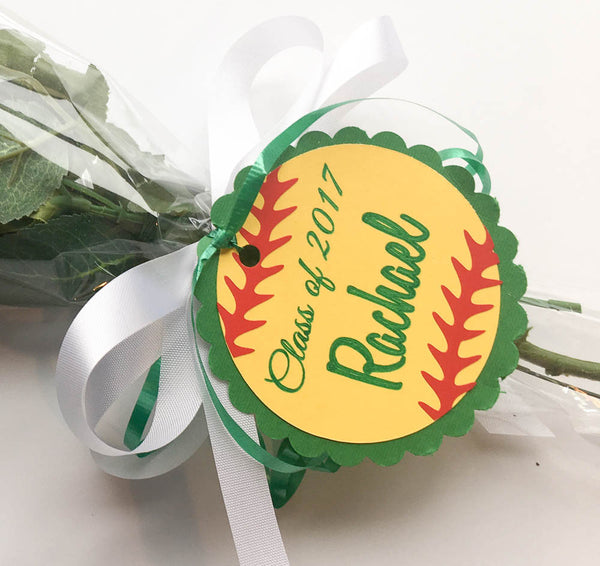 closeup of softball rose hang tag