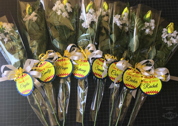 Senior Night Single Softball Rose Bouquet - Custom Colors