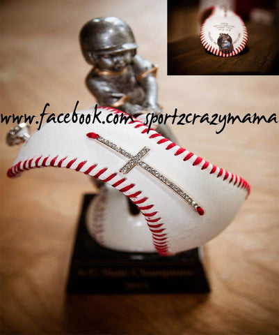 Baseball Cuff with Rhinestone Sideways Cross - SportzCrazyMama