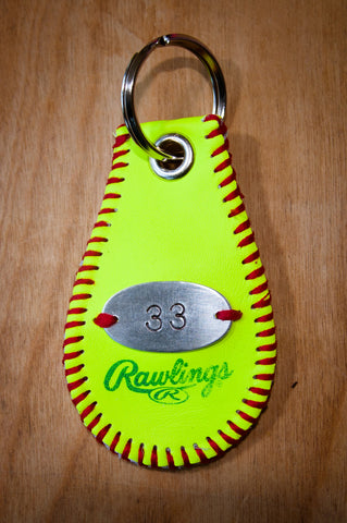 Personalized Softball Key Chain