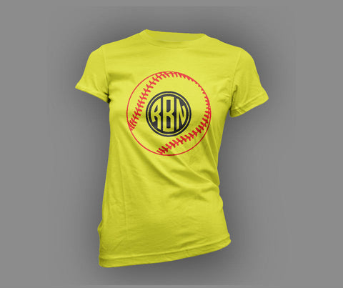 Softball Monogram T Shirt - SportzCrazyMama
