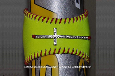 Softball Cuff with rhinestone sideways cross - SportzCrazyMama