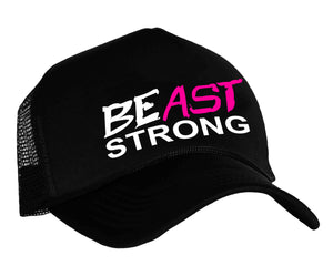 BEast STRONG snapback trucker cap in black, white and pink