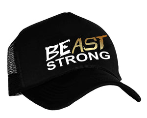 BEast STRONG Trucker Hat in black white and gold
