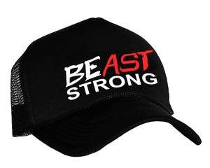 BEast STRONG snap back trucker hat in black, white and red