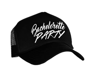 Bachelorette Party Trucker Hat in black and white