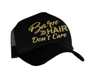 Barn Hair Don't Care snap back trucker hat in black and gold