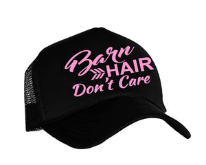 Barn Hair Don't Care Trucker hat in black and pink