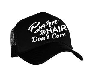 Barn Hair Don't Care Snapback cap in black and white