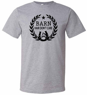 Barn Hair Don't Care Graphic t-shirt in black and grey