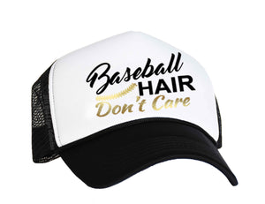 Baseball Hair Don't Care Snap back Cap in black, white and gold