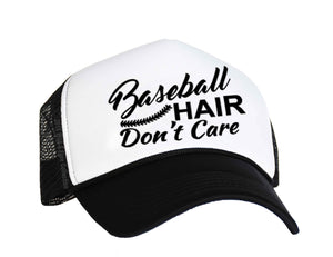 Baseball Hair Don't Care Snapback trucker Hat in black and white