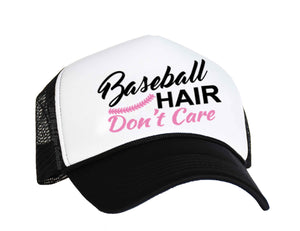 Baseball Hair Don't Care Trucker Hat in black, white and pink