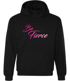 Be Fierce graphic hoodie in black and ombre pink