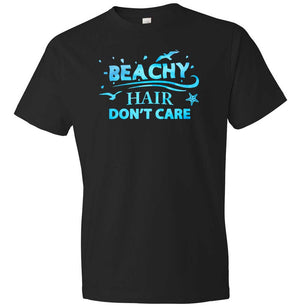 Beachy Hair Don't Care Graphic T-shirt in black and blue