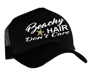 Beachy Hair Don't Care Trucker Hat Black, White and Gold