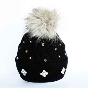 One of a kind winter beanie toque with rhinestones and glass beads in black, brown and grey finished off with large faux fur pompom