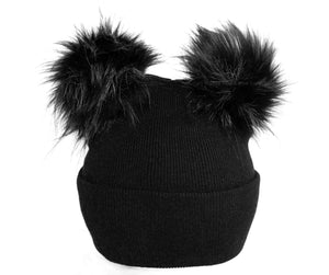 Black Pompom Ear Beanie Toque