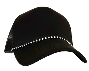 Rhinestone Snapback Trucker Hat in black