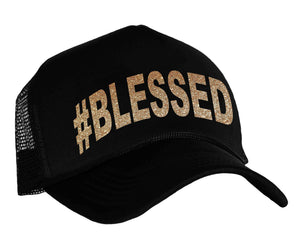 #Blessed Trucker hat in black and gold