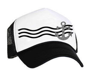 Boat anchor trucker hat black, white and charcoal