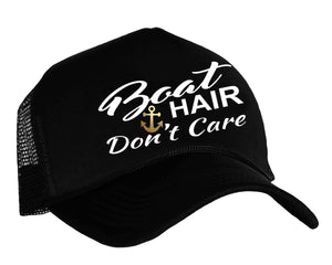 Boat Hair Don't Care snapback trucker cap in black, white and gold
