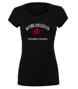Ladies Bobcaygeon graphic t-shirt in black, white and red