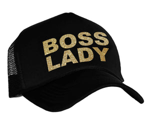 Boss Lady snap back trucker hat in black and gold