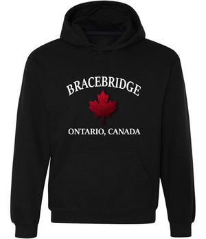 Bracebridge Graphic Hoodie in black, white and red