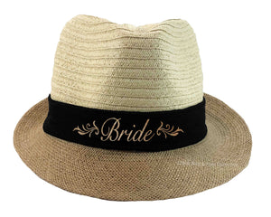 Bride Fedora Hat for the honeymoon or destination wedding in beige, black and gold