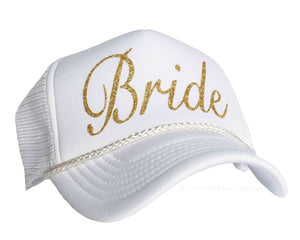 Bride snapback trucker hat in white and gold