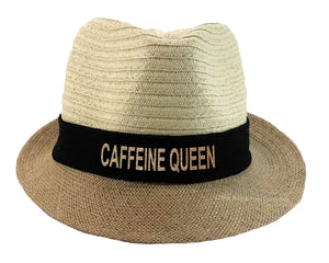 Caffeine Queen Fedora Hat in black and gold