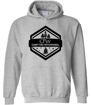 CFW Campfire Withdrawal graphic hoodie in grey and black
