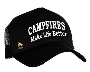 Campfires Make Life Better Snapback trucker hat in black, white and gold