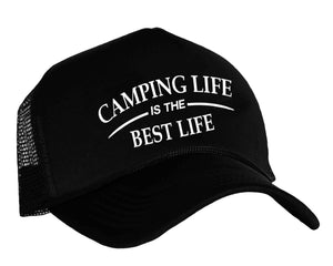 Camping Life Is The Best Life graphic snapback trucker cap for camping in black and white
