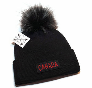 Canada Pom Pom Toque in black and red