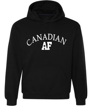 Canadian AF Graphic Hoodie in black and white