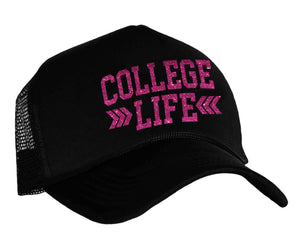 College Life Snapback Trucker Hat in black and hot pink