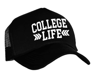 College Life Snapback Trucker Cap in black and white