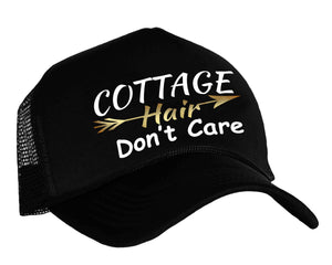 Cottage Hair Don't Care Trucker Hat in black, white and gold